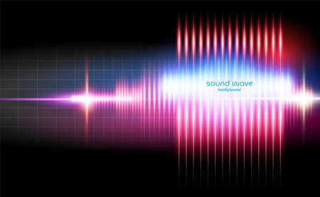 Abstract Sound Wave Background with Red Neon Light Colour