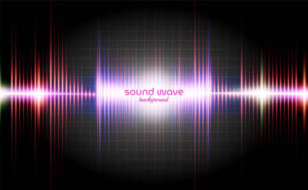 Line Sound Wave Background with Dynamic Colour Vettoriali