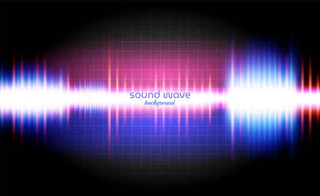 Sound Wave Background with Neon Light Colourful