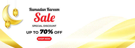 Ramadan Kareem Sale Horizontal Banner with Gold Colour. Islamic Lanterns, Moon, Star. Vector Illustration  イラスト・ベクター素材