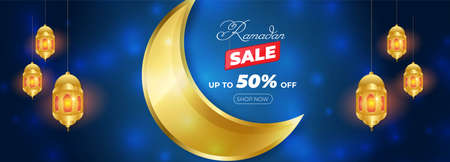 Ramadan Kareem Sale Horizontal Banner with Bokeh Effect. Islamic Lanterns, Moon, Star. Vector Illustration