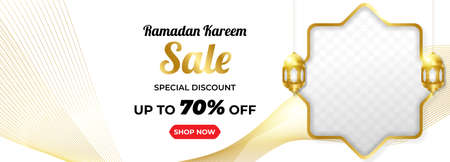 Ramadan Kareem Sale Horizontal Banner with Gold Line Colour. Islamic Lanterns, Moon, Star. Vector Illustration
