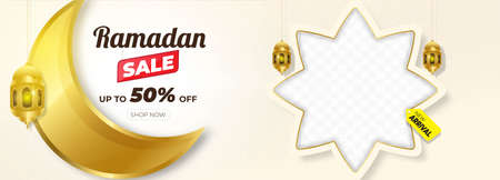Ramadan Kareem Sale Horizontal Banner with Gold Moon. Islamic Lanterns, Moon, Star. Vector Illustration