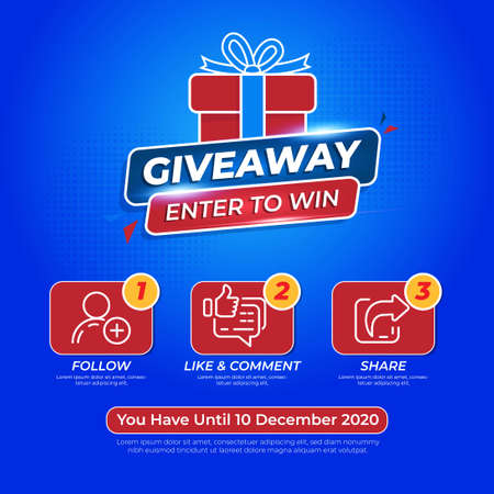 Giveaway Banner Or Poster Template Design with Blue Color