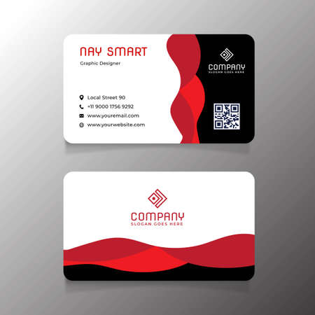 Red Black Business Card Template with QR Code