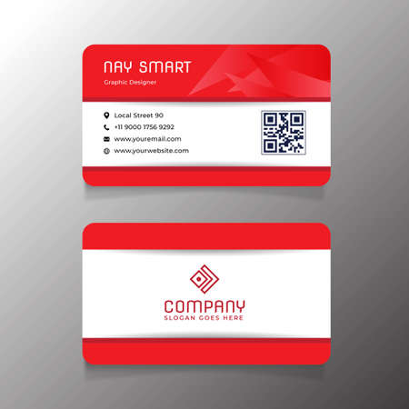 Red  Business Card Template with QR Code