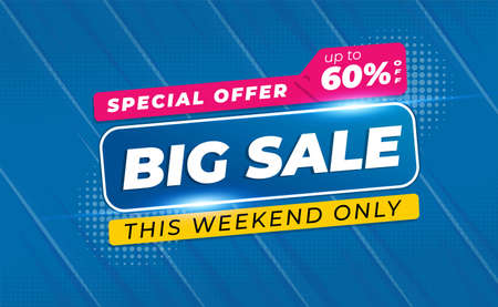 Big Sale Banner or Poster 60% OFF with Comic Zoom Background Style  イラスト・ベクター素材