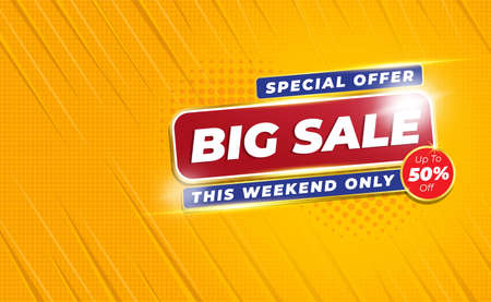 Big Sale Banner or Poster 50% OFF with Comic Zoom Background Style