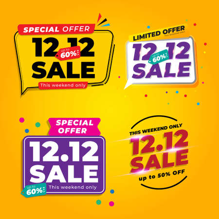 Set Of 12.12 Shopping Day Sale Banner Background With Yellow Colour  イラスト・ベクター素材
