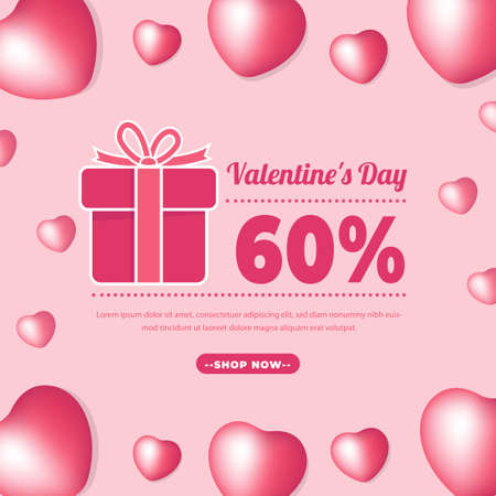 Valentine Day Banner with Pink Colour. Romantic banner For Promotion, 14 February Sale. Big Sale 50% Off for Fashion, Digital Promotion, Voucher or Card. Vector illustration