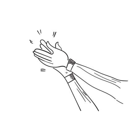 Hand Drawn of Applause, Hands Clapping Ovation Gesture with Doodle Style