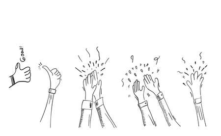 Set of Hand Drawn Applause, Hands Clapping Ovation Gesture With Doodle Style