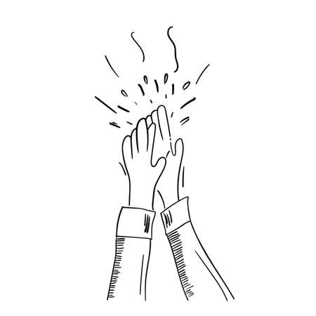 Hand Drawn of Applause, Hands Clapping Ovation Gesture with Doodle Style Ilustración de vector