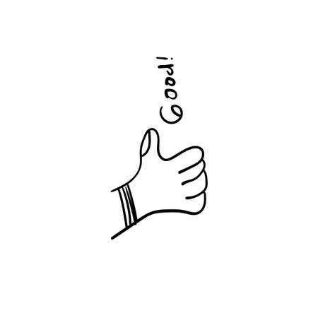 Hand Drawn of thumb up Gesture with Doodle Style