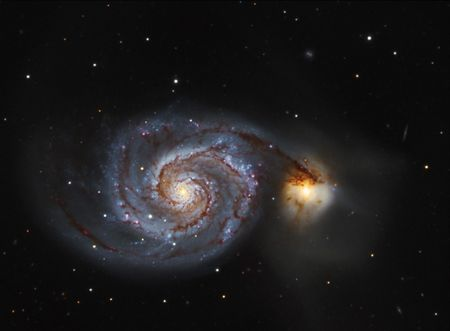 astroimage: The Whirlpool Galaxy M51 Stock Photo