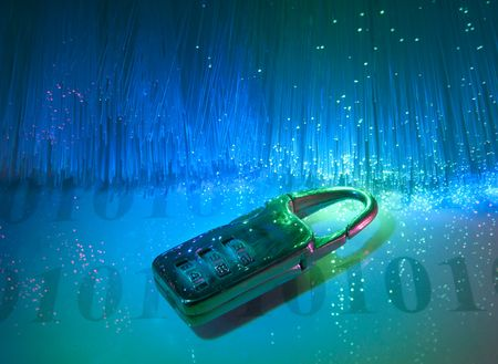 data security with fiber optical background Stock Photo - 6813221