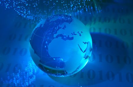 world map technology style against fiber optic background  Stock Photo - 6813275