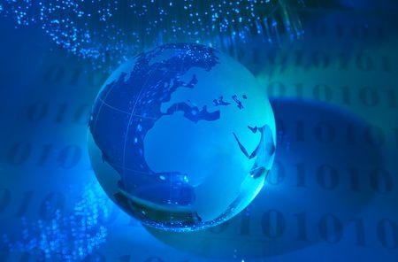 world map technology style against fiber optic background Stock Photo - 6813275