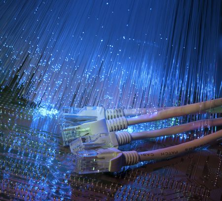 network cable: network cable closeup with fiber optical background