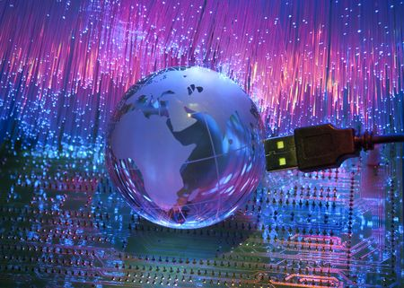 computer data concept with earth globe against fiber optic  photo