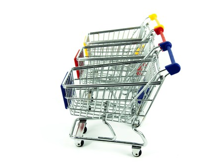 shopping cart over white background  Stock Photo - 7524478