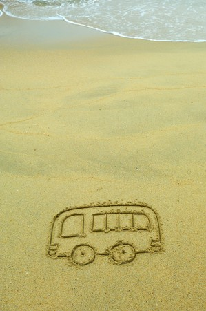 bus drawing in the sand Stock Photo - 8060171