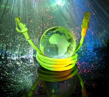 globe with network on technology fiber optics background Stock Photo - 7660712