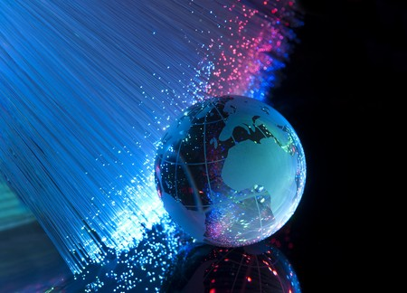 world map technology style against fiber optic background Stock Photo - 7660717