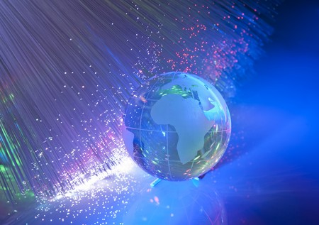 world map technology style against fiber optic background  Stock Photo - 7660715