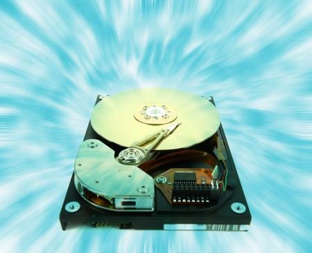 databank: computer harddisk and heads Stock Photo