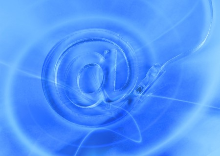 email with net cable on blue background  photo