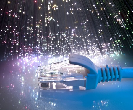 network on technology fiber optics background  Stock Photo