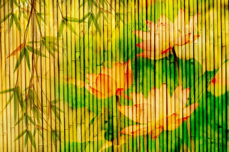 lotus and bamboo background great for any project  photo