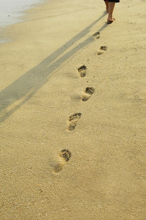 imprinted: Footsteps imprinted side by side in the sand