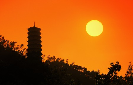 Silhouettes of Chinese temples sunset background photo