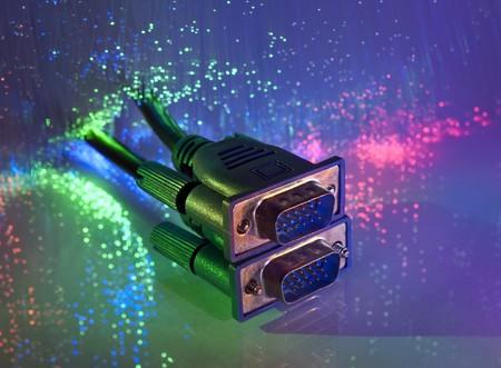 vga: monitor VGA enchufe con antecedentes de fibra �ptica