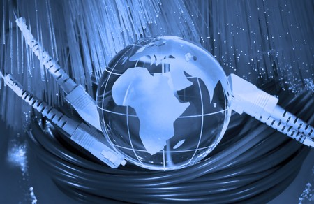 world map technology style against fiber optic background Stock Photo - 8149349