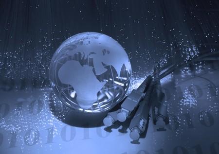 hi-tech earth globe against fiber optic background  photo