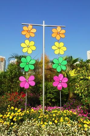 pinwheels: Pinwheels hanging in the garden Stock Photo