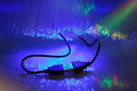 USB plugs closeup with fiber optical background more in my portfolio  photo