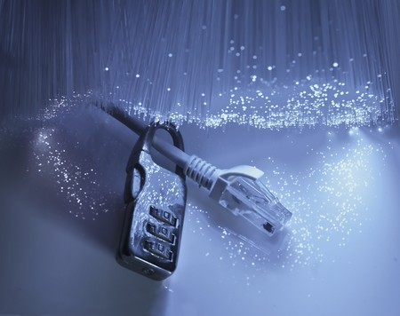 network security with fiber optical background Stock Photo - 9273243