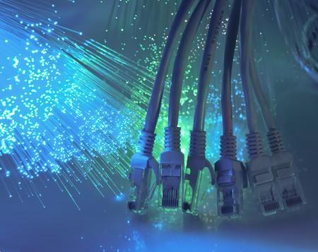 net werk kabel close-up met vezel optische achtergrond