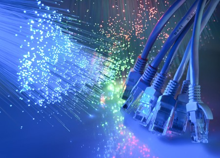 network cable closeup with fiber optical background more in my portfolio Stock Photo - 8269203