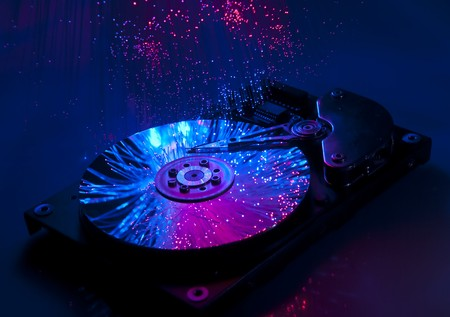 Computer hard drives with technology fiber optics background  Stock Photo - 8141852