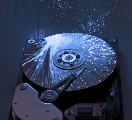 Computer hard drives with technology fiber optics background  Stock Photo - 8141847