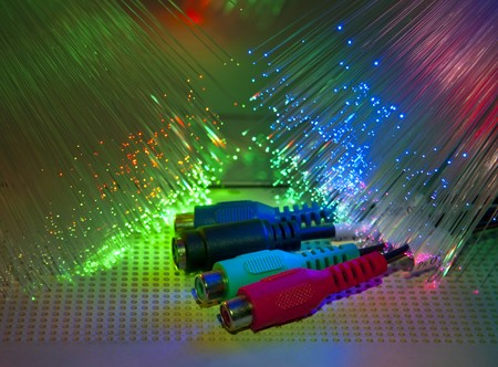 Media plug with fiber optical background more in my portfolio  photo