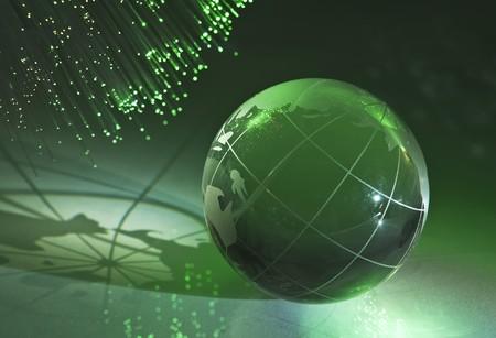 hitech: hi-tech earth globe against fiber optic background