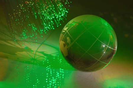computer data concept with earth globe against fiber optic background more in my portfolio photo