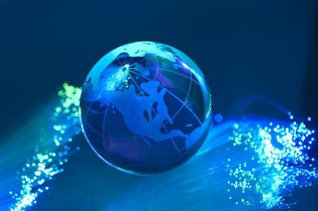 world map technology style against fiber optic background Stock Photo - 8180611