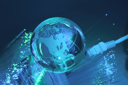 hi-tech earth globe internet background  Stock Photo - 8178519